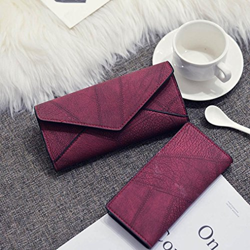 Portafoglio Donna, Tpulling Le donne fanno uso quotidiano il portafoglio della borsa della frizione della borsa (Black) Red