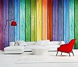 Mbwlkj Custom 3D Fototapete Wandbilder Moderne Wohnzimmer Einrichtung Tv Hintergrund Tapeten Holz Home Tapete Regenbogen Farbe-200Cmx140Cm
