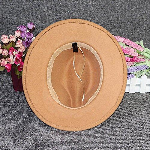 Chapeau Casquette Fédora Trilby Vintage Rétro Feutre Femme Filles Hiver brun clair