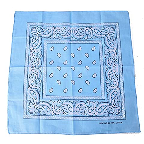 HDE 100% Cotton Double Sided Paisley Print Bandana Handkerchief Headwrap Doo Rag (Light Blue)