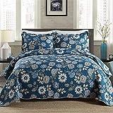 Asvert Quilt Tagesdecke Baumwolle Bettüberwurf Steppdecke gesteppt Patchworkdecke Bettdecke Doppelbett(230 x 250, Dunkelblau)