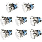 Thlevel 8 stuks 16 mm drukknop belknop toeterknop deurbel roestvrij staal IP65 waterdicht schroefcontacten push button voor a