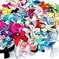 Ddge Dmms Lot de 100 Nœuds rubans miniatures artificiels satinés, mélange de couleurs, pour loisirs créatifs, mariages