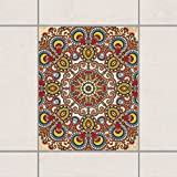 Apalis Fliesen Aufkleber–Farbige Mandala 25cm x 20cm, Set Größe: 4Stück