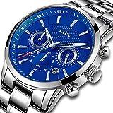 LIGE Uhr Herren Wasserdicht Edelstahl Sport Analog Quarz Herrenuhr Luxusmode Chronograph Kalender Geschäft Kleid Armbanduhr Mann Blau Uhr