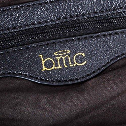 BMC Damen, PU-Leder, Schlangenleder-Optik, texturiert, Kette-Griff Midnight Black