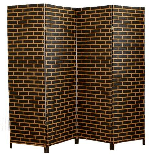 PEGANE Biombo japonés de madera y mimbre negro - beige de 4 paneles