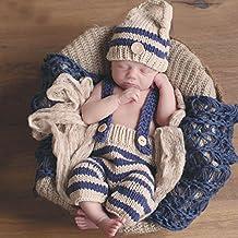 Cloud-castle Completo pantaloni e cappellino all'uncinetto per neonati, per set fotografico, motivo a strisce, colore blu