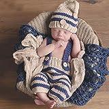 Feichen Beanie bebé recién nacido fotografía apoya infantil de punto de ganchillo Traje azul Trajes rayadas Elf botón + Pants