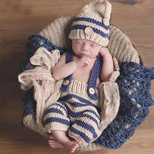 HAPPY ELEMENTS Neugeborenes Baby Fotoprops Säuglingsknit Häkelarbeit Kostüm Blaue Gestreifte Weiche Outfits Elf Knopfbeanie Hut + Hosen