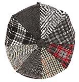 Sakkas NSB1591 - Jay Gatsby 8 Panel-Wolle Ballon- Paperboy-Snap Brim-Kappe - Schwarz - Large