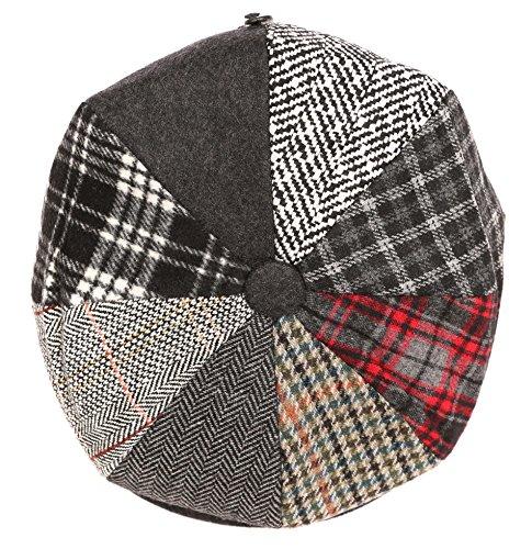 Gatsby 8 Panel-Wolle Ballon- Paperboy-Snap Brim-Kappe - Schwarz - Large (Paperboy Hut Für Männer)