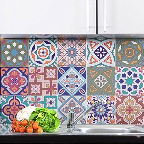 Carreaux de ciment adhésif mural - azulejos - 20 x 20 cm -15 pièces