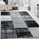 Designer Teppich Modern Kurzflor Karos Speziell Meliert Grau Schwarz Weiß, Grösse:80x150 cm