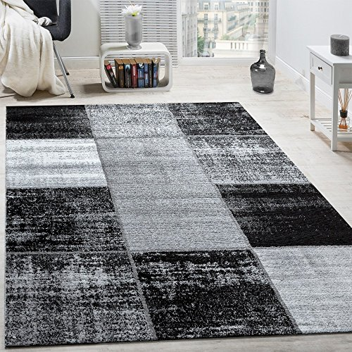 Alfombra De Diseño Moderna De Velour Corto A Cuadros Especial Mezclada Gris, Negra Y Blanca, tamaño:160x230 cm