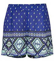 Ladies Blue Paisley Summer Shorts with elasticated back in UK Size 12 eu 38