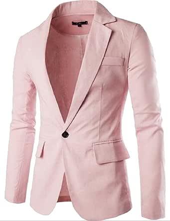 Tootlessly Men Solid Linen Long Sleeve Blazer Coats Sports Coat Blazers