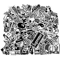 100pcs Autocollants Noir et Blanc Vinyle pour Ordinateur Portable, Voitures, Moto, Bicyclette, Bagages Skateboard, Autocollants pour Voiture Stickers Hippie Bombe Étanche