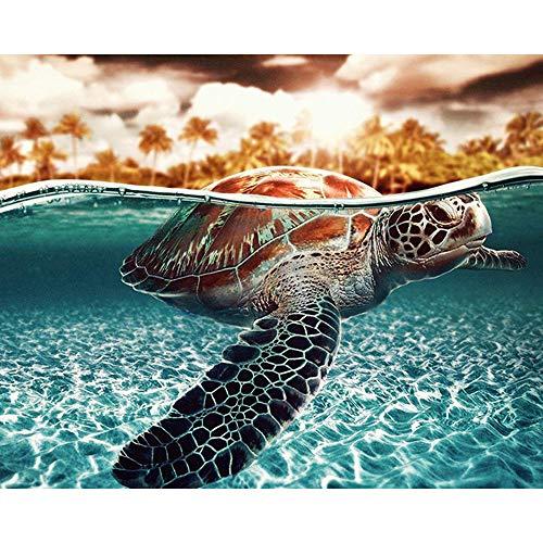 YIAIY DIY Digitale Malerei, Schildkröte/Kuh/Kalb/Weißer Tiger-Farben-Anstrich-Dekoration, Leinengewebe-Wand-Dekorations-Dekorations-Geschenk, 16 * 20 Zoll,A