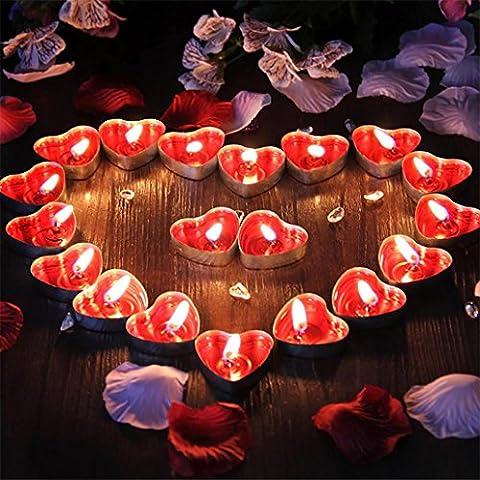 sunnymi 50PCS Rauchfrei Herz Geformt Kerzenlicht/Romantische Liebe Hochzeitsfeier/Duftende Wohnkultur/Täglicher Haushalt Hausdekorationen Kaffee Shop Hotel KTV Reise Kerzen (Herz Glas Teelicht)