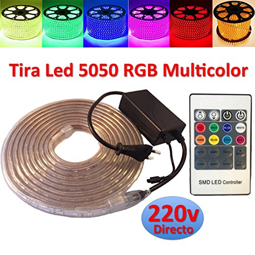Ahorraluz Tira de Led 220v 5050 RGB con Mando IMPERMEABLE Waterproof IP67 Strip 230V (10 Metros), 10M