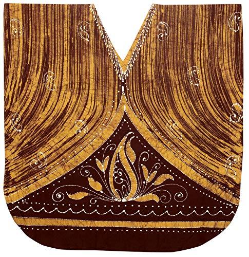 LA LEELA Frauen Damen Baumwolle Kaftan Tunika Batik Kimono freie Größe kurz Midi Party Kleid für Loungewear Urlaub Nachtwäsche Strand jeden Tag Kleider Braun_K228 -