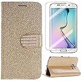 Semoss 2 in 1 Accessoires Set Bling Gliter Coque Strass en Cuir pour Samsung Galaxy S7 Edge Diamant Etui Portefeuille Flip Housse en Protection Cover avec Fonction Stand et Protecteur d'écran - Or