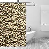 COOSUN Cortina de ducha con diseño de leopardo de tela de poliéster repelente al agua para baño decoración del hogar con ganchos, 60 W x 72 L