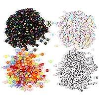Naler 800 Abalorios Letras Cuadradas Cuentas Alfabeto para Pulseras DIY Manualidades(6mm, 26 Letras)