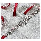 Lia Brautgürtel, Strassgürtel, 270x2 cm, Satin, ROT, Vintage Gürtel zum Brautkleid, Hochzeitskleid, Hochzeit, Glitzer, silber,