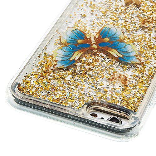 For iPhone 6 PLUS 5.5[CUTE SPARKLING]Novelty Creative Liquid Glitter Design Liquid Quicksand Bling Adorable Flowing Floating Moving Shine Glitter Case -GOLD EIFFEL GOLD BUTTERFLY