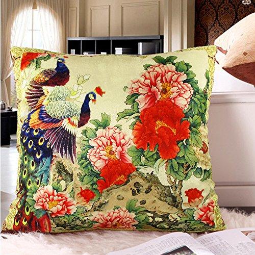memorecool Haustierhaus Kissenbezug Pfau Blumen Land, samtig keine Filler 40,6x 40,6cm, peacock13, 20x20inch
