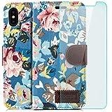 Custodia iPhone X Cover + Vetro Temperato Flip Wallet [zanasta] Case Copertura con Portafoglio Alta Qualità Modello di Fiori Blu