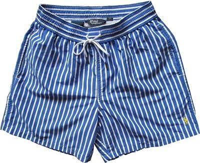 Ralph Lauren Polo hawaianas Bañador de hombre, diseño de rayas, color azul