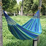 "Popamazing 75Lx 31.5"" W Blue Outdoor Garden Back Yard Travel Camping Colour Stripe Hammock Hang Bed"