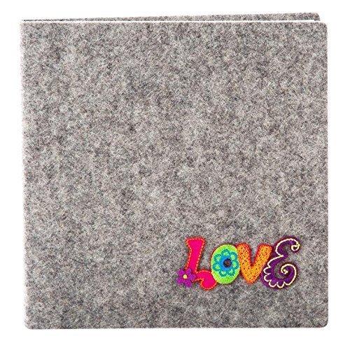 Goldbuch 41139 Poesiealbum, FilZit, 96 weiße Seiten, 16,5 x 16,5cm, grau