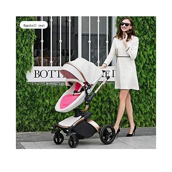 Yyqt Baby Carriage,with Buggy Top and Carrycot Travel System Feature New 2019, Stroller 2 in 1, it Includes Specifications: Eggshell Seat, Sleeping Basket, Red Seat Cushion (Color : Pink) Yyqt ♥360-degree swivel seat, high-quality leather, aluminum alloy frame (for safety reasons, the seat rotates 90 degrees and locks automatically.) If you want to turn again, turn the knob again) can be used as a cradle ♥Sports car seat: can be used in and against the direction of travel. The seat can easily be used in or against the direction of travel and a resting position in both directions is possible for a nap. ♥Cross-country stroller includes: red seat pad for babies, baby frame and eggshell chair, sleeping basket, car safety seat, 8