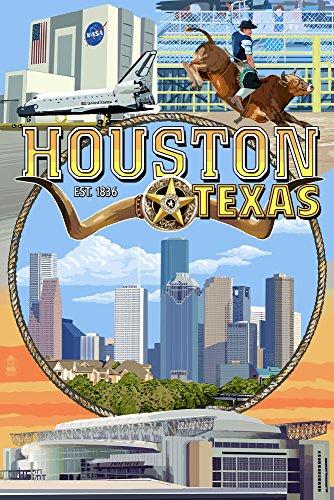 Houston, Texas-Montage Szenen, Papier, multi, 12 x 18 Art Print (Houston Artwork)