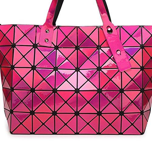 Ms. Umhängetasche Handtasche Gesteppte Geometrisches Mosaic rosered