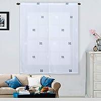 Best Interior Paire vitrages Effet tissé Carré - Gris-Anthracite-Blanc - 2x60x120cm