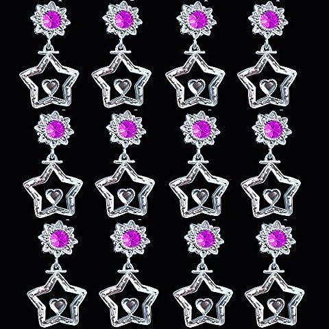 German Trendseller® - 12 x boucles d'oreille d'étoiles à clip┃6 pairs┃bijoux de filles┃ l'anniversaire d'enfants┃ petit cadeau┃bijouterie pour petites princesses