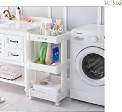 VelKro 4 Tiers Plastic StorageRack Rolling Storage Utility Cart(White,4_TIER_SQUARE_STORAGE_RACK_124)