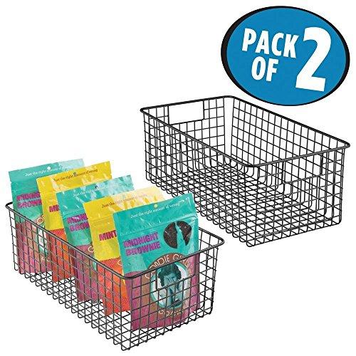mDesign 2er-Set Allzweckkorb – der flexible Aufbewahrungskorb für die Küche, Vorratskammer etc. – kompakter und universeller Drahtkorb mit Griffen – mattschwarz (Draht-korb Ziehen)
