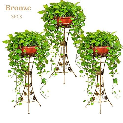 Malayas® 3Pcs Étagère de Fleur Jardinière Pot de Fleur Rack de fleur en Métal Fer pour Décoration - Bronze