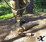 BE-X Survival Faltsäge aus Edelstahl, mit Paracordgriffen und Metalldose (75cm lang / 130g schwer) -