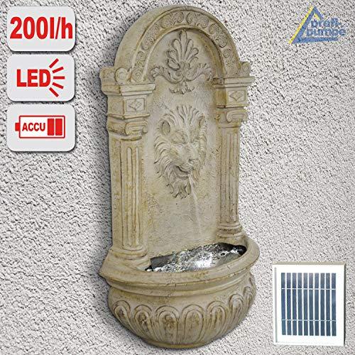 AMUR Gartenbrunnen Solarbrunnen Brunnen Vogelbad Wasserfall Wasserspiel für Garten Terrasse Wandbrunnen, Balkon, Löwen-Brunnen Sehr Dekorativ, Gartendeko mit Pumpe, Led-Licht-Gartenleuchte