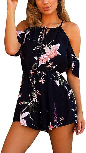 Toamen Womens Flower Print Jumpsuit Sale Ladies Off Shoulder Playsuit for Holiday Summer Shorts Pants Rompers Beachwear