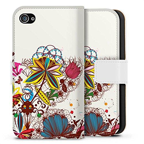 Apple iPhone X Silikon Hülle Case Schutzhülle Blumen bunt blume Sideflip Tasche weiß