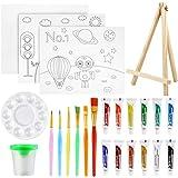 Pllieay 24 delar Chlidrens konstnär målningsset målarborstar startset med mini-bordsstaffli, akrylfärg, borstar, minipenselre