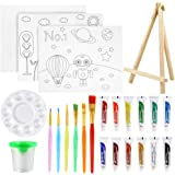 Pllieay - Juego de 24 piezas de pintura para niños, juego de pintura acrílica con minicaballete de mesa, pintura acrílica, pi